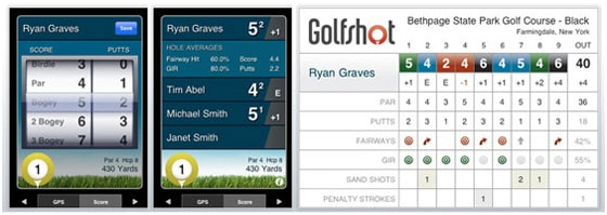 GolfShot iPhone App Score Card Screens