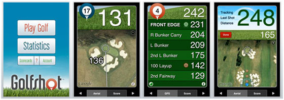 Screenshots from the GolfShot iPhone App