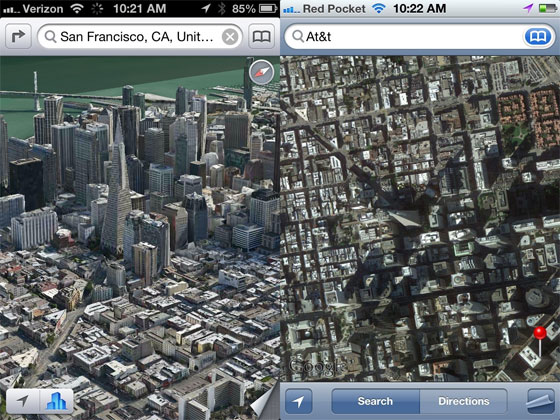 Apple Maps in Flyover View