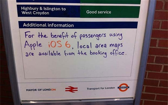 London Underground Apple Maps Sign