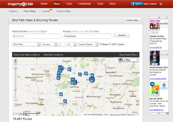 MapMyRide Website