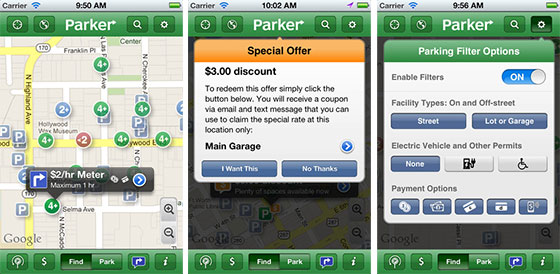 Screenshots from the Parker iPhone Parking App